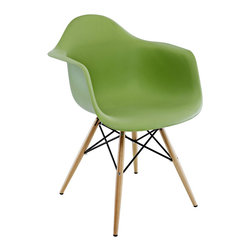Ariel - Eames Style Molded Green Plastic Dining Armchair W/ Wood Eiffel Legs - A true modern classic design, this classic dining armchair with wood Eiffel legs remains popular today in cafes, home offices, and dining areas. Sporting a clean, simple, retro, yet modern design sculpted to fit the body, this gorgeous armchair is the perfect addition to the home or office. Also available in white, black, or light blue.