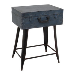 Excursion Accent Table - Sleek black legs support a midnight-hued travel chest on this unexpected accent table. Perfect for travel lovers, it's also a chic way to organize a lot in a just a little space.