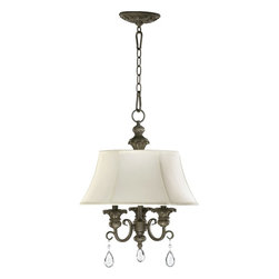 Quorum Lighting - Quorum Lighting Fulton Traditional Chandelier X-45-3-2316 - Hanging elegant in any room setting, the Quorum Lighting Fulton Traditional Chandelier is ideal for intimate atmosphere. The beige fabric shade provides subtle feminine appeal and generates warm illumination to create that intimate ambiance. The classic bronze finish displays the harmony of the old world styled frame with teardrop pendant accent.
