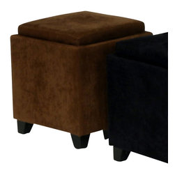 Armen Living - Armen Living Rainbow Micro Fiber Storage Ottoman in Brown - Armen Living - Ottomans - LC530OTMFBR - The 530 Rainbow Storage Ottoman is a wood frame construction on espresso wood feet and covered in an easy to clean micro fiber fabric. The top reverses from a padded seat to a convenient serving tray. Great for the family room.