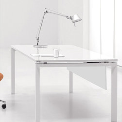 None - White Aluminum Writing Desk - Update your office with this sleek white office writing desk. This contemporary piece features a clean white lacquer finish and a wood and aluminum frame. The sophisticated desk arrives with power, Internet hookups, and wire management.