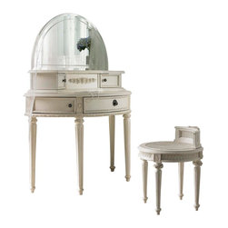 Lea Industries - Lea Emma's Treasures Vanity with Mirror and Bench in Vintage White - Inviting, casual and comfortable easily describes Emma's Treasures from Lea Furniture. Traditional styling mixed with a cozy time-worn appearance creates a collection of youth furniture sure to please any age girl. The distressed vintage white color finish, antiqued pewter-color hardware, the use of cane and crystal-cut mirrors all help create the shabby chic appeal of this group. Special features include vintage patterned drawer liners and hidden compartments on select pieces. Unique pieces include a vanity with bench, a mirrored door chest and a desk that can double as a larger vanity. Take a look at Emma's Treasures and create a room your Child will treasure for years to come. And, as always, Emma's Treasures comes with the quality you expect from Lea Furniture. Safety is one of the key elements Parents look for when buying products for their Children. As a supplier of Children's furnishings, we are committed to ensuring our products meet or exceed the safety requirements defined by the Consumer Product Safety Commission and the ASTM. design and function combined with safety features makes the Emma's Treasures collection an ideal choice for any Child's room.