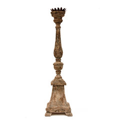 French Altar Candlestick - With rustic heirloom wear in its finish and Parisian design sensibilities in its lines, the antiqued white version of our French Altar Candlestick is a versatile transitional piece par excellence. Attention to detail elevates the luxury candlestick beyond the ordinary, as the metal drip cup is composed of petals in alternating sizes, the sleek spindle is accented with carved rings of rich gold-rubbed adornment, and the sturdy base rests on individually carved scroll feet.