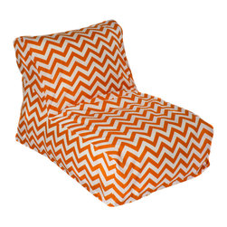 HRH Designs - Indoor/Outdoor Beanbag Lounger, Canyon Chevron - Indoor/outdoor beanbag lounger. Removable washable cover. Water resistant. Chair can be refilled when needed.