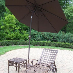 Oakland Living - 3-Pc Patio Lightweight Chaise Lounge Set - Includes chaise lounge, side table and 9 ft. tilting umbrella with stand. Metal hardware. Fade, chip and crack resistant. Warranty: One year limited. Made from rust free cast aluminum. Antique bronze hardened powder coat finish. Minimal assembly required. End table: 17.5 in. W x 17.5 in. D x 19 in. H (15 lbs.). Chaise: 71 in. W x 25.5 in. D x 35 in. H (68 lbs.). Overall weight: 158 lbs.This Chaise lounger set will be a beautiful addition to your patio, balcony or outdoor entertainment area. Our Chaise lounger sets are perfect for any small space, or to accent a larger space. We recommend that the products be covered to protect them when not in use. To preserve the beauty and finish of the metal products, we recommend applying an epoxy clear coat once a year. However, because of the nature of iron it will eventually rust when exposed to the elements. The Oakland Elite Collection combines old world charm and modern designs giving you a rich addition to any outdoor setting. The traditional lattice pattern is crisp and stylish. Each piece is hand cast and finished for the highest quality possible.