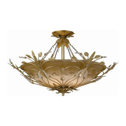 Crystorama - Gold Leaf Semi Flush with Spectra Crystal Beads - Primrose semi flush adorned with Swarovski spectra crystal beads.