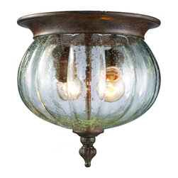 Two Light Weathered Bronze Clear Seedy Glass Outdoor Flush Mount - This cast aluminum outdoor flush mount uses reed seedy clear glass to create a unique look, along with the weathered bronze finish and decorative finial.