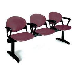 KFI Seating - Freestanding Beam Seating w 3 Seats & Backs ( - Color: Burgundy3-Seat beam with arms. Made of 15 gauge steel sandtex frame, powder-coated in black. High impact polypropylene seat and back. Injection aluminum alloy back supports. Free standing with adjustable glides. Great for waiting rooms and common areas. Pictured in Burgundy. 71 in. W x 22 in. D x 31 in. H