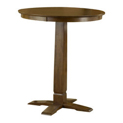 Hillsdale - Hillsdale Dynamic Designs Pub Table in Brown Cherry - Hillsdale - Pub Tables - 4975PTBBRN - The Dynamic Designs Pub Table is sleek and contemporary with a casual style that will fit in anywhere. It has a pedestal base with a squared tapering center column. With its warm wood finish this pub table is sure to be the focal point of the family room kitchen or den.