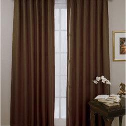 Eclipse - Fresno Espresso 52-Inch x 84-Inch Blackout Window Curtain Panel - - Experience the darkness, silence and beauty of Eclipse curtains.   - Eclipse? ultra-fashionable blackout panels have been laboratory-tested to block out over 99% of outside light, up to 40% of unwanted noise and can help to save up to 25% off home heating and cooling costs.   - Eclipse Curtains combine functionality with the versatility and style needed to enhance any room in your home.   - Hang them in your media room for the ultimate home theater experience, or in your dining area to create an intimate date night.   - Eclipse Curtains are also designed to be perfect in the bedroom, kid?s room or nursery to create the ideal sleep environment for the whole family.   - National Sleep Foundation studies show that blocking unwanted light and noise while you sleep helps create the optimal sleeping environment.   - The magic is in the Thermaweave construction.   - The innovative triple-weave design allows you to enjoy all of the light-blocking, noise reducing and energy saving benefits, while providing the same fashionable style and elegance of naturally flowing curtains.   - Hang two or more curtain panels on a standard or decorative rod for optimal coverage and desired effect.   - Sold as a single panel that can be featured as rod-pocket or backtab.   - Panel measures 52?W x 84L.   - This soft fabric has an elegant texture.   - Rod sold separately.   - 100% Polyester.   - Machine wash gentle cycle, tumble dry, do not bleach.   - Imported.   - Panel only. Eclipse - 11353052X084ES