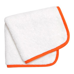 """Jonathan Adler - Jonathan Adler Orange Piped Washcloth - Jonathan Adler's stylish washcloth energizes bathrooms with the designer's """"happy chic"""" aesthetic. When edged with piping in a striking shade of orange, this everyday white shower essential becomes a contemporary accessory. 13""""W x 13""""H; 100% Pima cotton; 650 gsm"""
