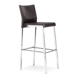 Zuo Modern - Zuo Boxter Barstool in Espresso - Barstool in Espresso belongs to Boxter Collection by Zuo Modern The Boxter Barstool chair carries a sturdy heft from a regenerated leather seat and back with stitching and a solid steel chrome frame. Barstool (1)