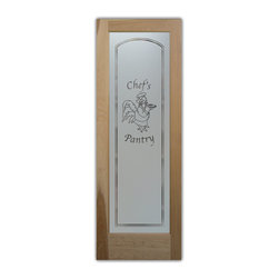 """Pantry Door Rooster Chef Etched Glass - PANTRY DOORS TO SUIT YOUR STYLE!  Glass Pantry Doors you customize, from wood type to glass design!   Shipping is just $99 to most states, $159 to some East coast regions, custom packed and fully insured with a 1-4 day transit time.  Available any size, as pantry door glass insert only or pre-installed in a door frame, with 8 wood types available.  ETA for pantry doors will vary from 3-8 weeks depending on glass & door type.........Block the view, but brighten the look with a beautiful obscure, decorative glass pantry door by Sans Soucie!   Select from dozens of frosted glass designs, borders and letter styles!   Sans Soucie creates their pantry door obscure glass designs thru sandblasting the glass in different ways which create not only different effects, but different levels in price.  Choose from the highest quality and largest selection of frosted glass pantry doors available anywhere!   The """"same design, done different"""" - with no limit to design, there's something for every decor, regardless of style.  Inside our fun, easy to use online Glass and Door Designer at sanssoucie.com, you'll get instant pricing on everything as YOU customize your door and the glass, just the way YOU want it, to compliment and coordinate with your decor.  When you're all finished designing, you can place your order right there online!  Glass and doors ship worldwide, custom packed in-house, fully insured via UPS Freight.   Glass is sandblast frosted or etched and pantry door designs are available in 3 effects:   Solid frost, 2D surface etched or 3D carved. Visit or site to learn more!"""