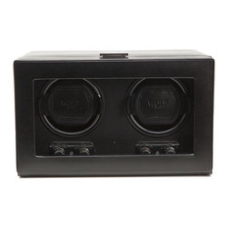 WOLF - Heritage Double Watch Winder w/cover in Black - Lucky you. You've got three expensive, beautiful watches. But unless you're into your own style, you can only wear one at a time. This black watch winder will take care of the other ones. It's quiet and the cover will keep your investments safe from dust and dirt.