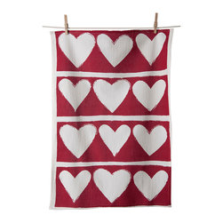 KAF Home - Hearts Flour Sack Tea Towel, Set of 3 - Show the kitchen some love with this Valentines-inspired floursack. Soft on skin and great for drying dishes. Delightful hearts design is perfect for romantic dinners, or for just brightening up the kitchen.