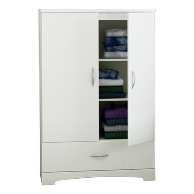 South Shore - South Shore Step One Armoire in Pure White - South Shore - Armoires - 3160037 - Thanks to its neutral finish and timeless look the sleek lines of this armoire blend perfectly into today's trendiest d��cors. Featuring 2 adjustable shelves behind each door and a large drawer for storage it is a very convenient storage addition to any