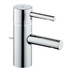 Grohe - Essence Single Hole Bathroom Faucet with Single Handle - NOTE: This item does not ship to California or Vermont Add style and function to your bathroom with this sleek Essence 7 3/4'' Bathroom Faucet in Chrome by Grohe. This faucet is sure to turn heads! Features: -Single lever handle.-Stainless steel braided flexible supplies.-Ceramic cartridges.-Single hole installation.-Quick installation system.-2 1/2'' aerator clearance.-1 1/4'' maximum deck thickness.-3 7/8'' spout reach.-Includes metal pop-up drain.-Cast brass construction.-Collection: Essence.-Distressed: No.-Country of Manufacture: Germany.Dimensions: -Overall Height: 6 3/8''.