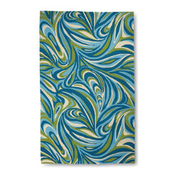 Grandin Road - Marble Tile Outdoor Rug - Designer-inspired outdoor area rug woven with a marvelous marble pattern. 100% polypropylene fibers shrug off the elements; water- and mildew-resistant. Hand hooked, looped construction. For use indoors or out. Polypropylene mesh fabric backing. With bold, designer swirls in cool blue, green and ivory, the Marble Tile outdoor area rug is haute couture for your outdoor—or indoor—floor. The sophisticated and versatile design is a breath of fresh air for the patio, porch, kitchen or entryway.  .  .  .  .  . Read more about care and cleaning . Extend the life of your rug with an Outdoor Rug Grip (sold separately) . Imported.