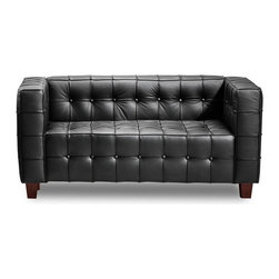 Tufted Club Loveseat in Black - Give intimate spaces in your home or office some love and attention with the Tufted Club Loveseat. Its ribbing and button pattern combined with all–black leather seating surfaces and solid wood legs give a space a sophisticated look without too much visual distraction.