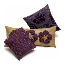 2013 Fall Collection - Grouping of plum colored pillows,  Meli-Melo $275 (front), Korhogo $350 (middle), Croc'Tile $475 (back).