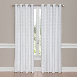 Vue - Miranda Winter White 95-Inch Tall Woven Grommet Drapery Panel - - Transform any room in your home with elegant Vue drapery panels. Luxurious and modern, Vue Miranda curtains offer a solid color tonal woven jacquard with all-over cable design for added style.  - Whether open or closed, the easy to hang antiqued metal grommets offer a contemporary flair. Exquisite and versatile, these drapery panels are perfect for living room, dining room, bedroom or den.  - Hang two or more grommet panels to accommodate window needs and desired effect. Create a designer layered-look by adding sheer curtain panels. - Grommets fit up to a 1.5? decorative rod. Each panel measures 52? wide in your choice of 84?, 95? or 108? lengths. Curtain rod and sheer curtains sold separately. Vue Miranda curtain sold as one lined panel.  - Easy care, machine washable. Tumble dry low, remove promptly, do not bleach. Imported. Vue - 13361052095WTW