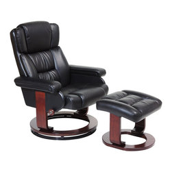 Serta by True Innovations - Serta Recliner and Ottoman in Puresoft Black Faux Leather - Serta by True Innovations - Recliners - CR43501 - About This Product: