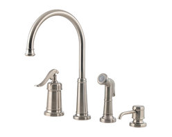 Price Pfister - Pfister GT26-4YPK Ashfield Kitchen Faucet w/ Side Spray & Soap/Lotion Dispenser - This kitchen faucet with side sprayer features a 4-hole installation, a soap/lotion dispenser, a convenient side sprayer, a single control ceramic disc valve, and a single-lever handle.