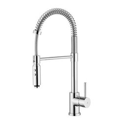 WS Bath Collections Evo 176 Single Handle Pull Down Kitchen Faucet - The WS Bath Collections Evo 176 Single Handle Pull Down Kitchen Faucet makes the perfect finishing touch to your new contemporary-style kitchen. This handsome unit is imported from Italy and features an easy to install design. The faucet is handcrafted from solid brass and features a sleek modern look. A pull-down design lets you extend the reach of the nozzle, while a push-button toggle lets you pick between a normal flow or a powerful spray. The unit comes available in your choice of three stunning, protective finishes: choose from matte chrome, polished chrome, or stainless steel finishes. Matching trim and valve are included.Product Specifications:ADA Compliant: NoLow-Lead Compliant: NoMade in USA: NoMount Type: Deck mountedHandle Style: LeverOverall Height: 21 inchesValve Included: YesSwivel Spout: YesSpout Height: 6.4 inchesAbout WS Bath CollectionsA tradition of fine handcraftsmanship, warmth of material, and beauty of design characterizes this company's exclusive collection of fine bathroom and kitchen products. The collections include innovative and distinctive sinks, washbasins, washstands, bathtubs, bathroom furniture, and complementary accessories that provide inspirational solutions for every imaginable decor.