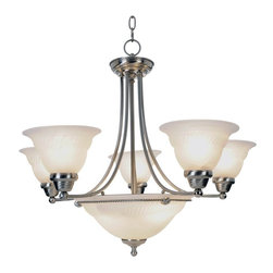 Premier - Seven Light Torino 28 inch Chandelier - Brushed Nickel - Premier 617045 28in. D by 24in. H Torino Lighting Collection 7 Light Chandelier, Brushed Nickel.