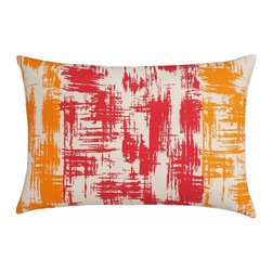 "Stardust Orange 18""x12"" Pillow - A lot of Houzz readers have mentioned that they want bright color but fear committing to it. You can take a baby step to see how you like it with this bright modern art pillow.100% cottonFeather-down insertHidden zipper closure18""Wx12""D"