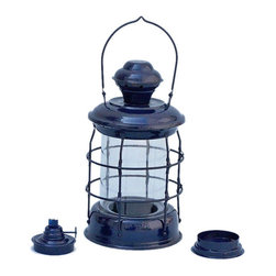 "Handcrafted Model Ships - Iron Round Oil Lamp 12"" - Dark Blue - This Iron Admiral Nelson Oil Lamp 12"" - Dark Blue is an authentic marine lantern replica. Handcrafted from iron to create a realistic lookout lamp as used on historical wooden tall ships, this ship lantern is true to the original design of period lamps. Hand-painted in a beautiful dark blue finish our nautical lantern is fully functional and simply needs oil to omit light."