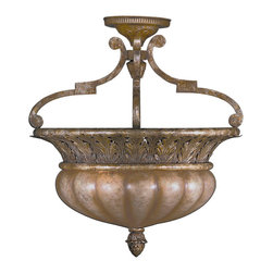 Fine Art Lamps - A Midsummer Nights Dream Semi-Flush Mount, 203745ST - With its classic foliage motif reminiscent of Ancient Greece, this handsome, semi-flush mount fixture will make a fine addition to your traditional home. It features a handblown glass font and glossy moonlit patina.