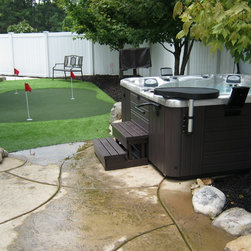 Hot Tub Ideas from Atlantic Spas and Billiards - what a fun outdoor oasis. photo courtesy of atlantic spas and billiards