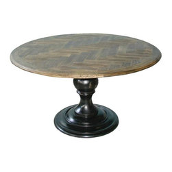 Regina Andrew - Regina Andrew Round Pedestal Table w/ Herringbone Top - Round Pedestal Table w/ Herringbone Top by Regina Andrew.