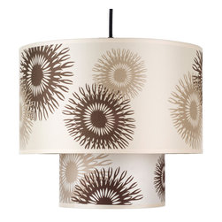 Lights Up! - Deco Medium Pendant Lamp - Working with neutrals is an easy way to introduce bold patterns to your home. The subtle shades of brown and tan complement countless color palettes and pair easily with a contemporary design style. Hang this in your dining room for a playful layer of lighting.