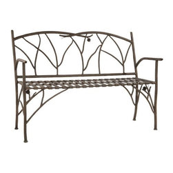 Stone County Ironworks - Bench - Slight curvature to the seating slats to make it even more comfortable. Amazing bark textures with a richness that is hard to describe. Hand made. Feet have easy glider inserts to protect your flooring. Frame made from iron. 52 in. L x 26 in. W x 38 in. H (122 lbs.)Dazzling hand-forged realism reflected in the natural beauty of this evergreen conifer. The gifted black-smith artisans here in the hills of Arkansas make every effort to translate every detail, from the rustic elegance of a hand-made pine-cone, to the warm texture of hammered bark. Transform any room by bringing the great outdoors inside.