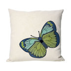 """Trans-Ocean Inc - Butterfly Green 20"""" Square Indoor Outdoor Pillow - The highly detailed painterly effect is achieved by Liora Mannes patented Lamontage process which combines hand crafted art with cutting edge technology. These pillows are made with 100% polyester microfiber for an extra soft hand, and a 100% Polyester Insert. Liora Manne's pillows are suitable for Indoors or Outdoors, are antimicrobial, have a removable cover with a zipper closure for easy-care, and are handwashable.; Material: 100% Polyester; Primary Color: Green;  Secondary Colors: aqua, black, blue, white; Pattern: Butterfly; Dimensions: 20 inches length x 20 inches width; Construction: Hand Made; Care Instructions: Hand wash with mild detergent. Air dry flat. Do not use a hard bristle brush."""