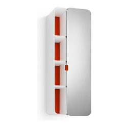WS Bath Collections - Bej Red Cabinet With Mirrored Door - Bej 8020.11 Cabinet with Mirrored Door in Red, Cabinet with Mirrored Door In Red, Free Standing, Made in Italy