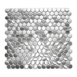 Eden Mosaic Tile - Penny Round Pattern Mosaic Stainless Steel Tile, Sample - The penny round pattern is a popular design of mosaic stainless steel tile that can be used in many applications. The small penny sized pieces create an awe inspiring effect when they come together on a large wall or back splash. The tiles in this sheet are mounted on a nylon mesh which allows for an easy installation. Imported.
