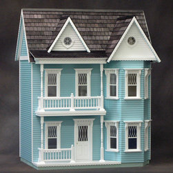 """Real Good Toys - Finished Princess Anne Dollhouse in Blue - Features: -Dollhouse. -Color: Blue. -1/4"""" and 3/8"""" floors finished and stained. -Painted interior trim, doors, stairs with banister and landing rails. -Custom silk-screened non-working windows. -Stained wooden roof shingles. -Exterior walls with clapboards milled directly into them. -Wallpapered interior as shown. -Windows include interior trim. -Working interior and exterior doors."""