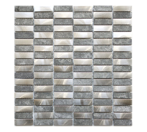 Eden Mosaic Tile - Stainless Steel Bricks And Gray Marble Mosaic Tile, Sample - This unique metal and stone mosaic tile is ideal for stainless steel backsplashes. This mosaic features medium sized brick shaped stainless steel tiles as well as gray marble stone mosaic tiles in a non staggered pattern. The mix of the stainless steel and stone give this metal mosaic tile a wonderful level of depth and a unique quality that cant be compared to plain single color tiles. The tiles in this sheet are mounted on a nylon mesh which allows for an easy installation. Imported.