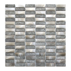 Eden Mosaic Tile - Stainless Steel Bricks and Grey Basalt Stone Eden Mosaic Tile, Sample - This unique metal and stone mosaic tile is ideal for stainless steel backsplashes. This mosaic features medium sized brick shaped stainless steel tiles as well as gray marble-like basalt stone mosaic tiles in a non-staggered pattern. The mix of the stainless steel and stone give this metal mosaic tile a wonderful level of depth and a unique quality that cant be compared to plain single color tiles. The tiles in this sheet are mounted on a nylon mesh which allows for an easy installation. Imported.