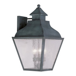 Livex Lighting - Livex Lighting 2457 Vernon Large Outdoor Wall Sconce - Livex Lighting 2457 Vernon Four Light Outdoor Wall SconceDesigned to resemble the classic outlines of a kerosene lamp, the Vernon four light outdoor wall sconce features a beautiful curved roof with a chimney style decoration topped by a ball finial. The four large seeded glass panes will create a timeless rustic atmosphere for any home.Livex Lighting 2457 Features: