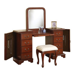 1PERFECTCHOICE - 3 PC Louis Philipp Vanity Set in Cherry Finish Classic European Design - Product Features: