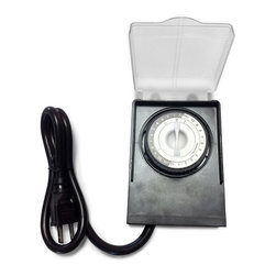 """Frontgate - Weatherproof Dial Timer - Christmas Lights - Easy-to-adjust pins lock into position for a designated time setting. 15 AMP/1875W capacity. Single grounded outlet for indoor and outdoor use. Matte black with clear plastic dial cover. 24"""" lead cord. The Weatherproof Dial Timer works like a maestro, powering up your lighted and animated decor in one perfectly orchestrated motion. The oversized dial includes two programming options: 24 hour or a custom option that turns the power on and off at the same time every day.  . . . . . 125VAC 60HZ. UL listed ."""