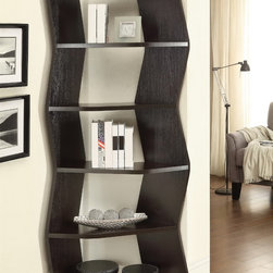 Casual Cappuccino 5 Angled Shelf Bookcase - Offering space to store books and display decorative items, Casual Cappuccino 5 Angled Shelf Bookcase will spice up your home.