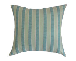 """The Pillow Collection - Pellston Stripes Pillow Blue Green 18"""" x 18"""" - Alternating vertical stripes with shades of soft blue, muted green and white are highlighted in this square pillow. This decor pillow instantly lends a contemporary touch to your living space. Place this accent pillow anywhere inside your home for dimension and texture. This 18"""" pillow is perfect for various furniture pieces including the bed, couch or seats. Crafted from 100% high-quality cotton fabric. Hidden zipper closure for easy cover removal.  Knife edge finish on all four sides.  Reversible pillow with the same fabric on the back side.  Spot cleaning suggested."""