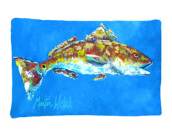 Caroline's Treasures - Fish - Red Fish Seafood Two Fabric Standard Pillowcase Moisture Wicking Material - Standard White on back with artwork on the front of the pillowcase, 20.5 in w x 30 in. Nice jersy knit Moisture wicking material that wicks the moisture away from the head like a sports fabric (similar to Nike or Under Armour), breathable performance fabric makes for a nice sleeping experience and shows quality. Wash cold and dry medium. Fabric even gets softer as you wash it. No ironing required.