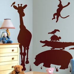 Animal Silhouettes Brown Peel and Stick Giant Wall Decals - Create your own safari adventure with the Animal Silhouettes Brown Peel and Stick Giant Wall Decals. These decals feature silhouettes of jungle animals in a sophisticated brown that will go with just about any nursery or bedroom decor. A huge giraffe towers over his friends, which include a hippo, crocodile, and two playful monkeys. Create a serene nature corner, or spread these friendly animals around your room - you can even change the scene as often as you want, since the decals are completely removable and reusable.Decal Dimensions:Giraffe: 19W x 66.5H inchesHippo: 37.5W x 19H inchesPelican: 10.5W x 7H inchesToucan: 11.5W x 5.5H inchesTurtle: 10.75W x 6H inchesFlamingo: 11W x 18H inchesMonkey #1: 18W x 13H inchesMonkey #2: 19.5W x 16H inchesBirds: 5W x 4H inchesAdditional Features:Remove and reapply as many times as you likeWipe clean with soft, damp cloth and mild soapDon't use glass cleaner; may cause colors to runAbout Roommates:Roommates, a subsidiary of York Wallcoverings Inc, creates some of the most versatile and unique wall decor you'll find. Their innovative wall decals feature a removable and endlessly reusable design, allowing you to move and rearrange your decals as often as you like, all without causing any damage to your walls or furnishings. This means you can apply them without worry or headache, since you don't have to get the application perfect the first time. RoomMates work on any smooth surface, and are particularly ideal for temporary decorating, such as around the holidays. All RoomMates products are proudly made in the USA, and are made from non-toxic materials so they're as safe for your kids and pets as they are for your walls.Please note this product does not ship to Pennsylvania.