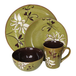 Jay Import Co - Mirabel 16 Piece Dinnerware Set, Green - Bold yet elegant, this 16-piece dinnerware set (full service for four) will make your everyday meals feel special. The single graceful bloom against a beautiful blue or green background brings true charm to your table.